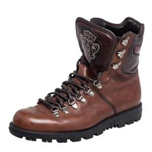 Gucci Brown Leather Hysteria Combat Boots Size 41