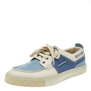 Gucci White/Blue Leather Low Top Sneakers Size 42.5