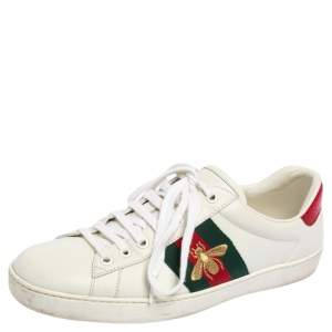 Gucci White Leather Web Ace Low Top Sneakers Size 40.5