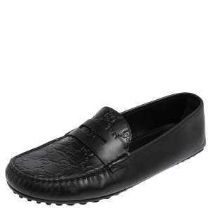 Gucci Black Guccissima Leather Slip on Loafers Size 42.5