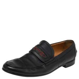 Gucci Black Leather Web Interlocking GG Horsebit Detail Loafers Size 44