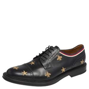 Gucci Black Leather Star  Embroidered Lace Up Oxfords Size 45.5