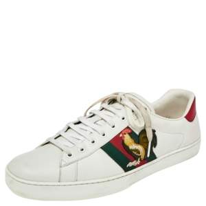 Gucci White Leather Rooster Web Detail Ace Sneakers Size 45