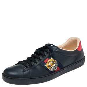 Gucci Black Leather Ace Embroidered Tiger Low Top Sneakers Size 46