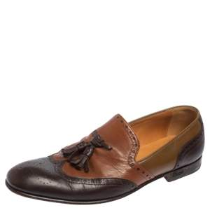 Gucci Brown Brogue Leather Tassel Detail Loafers Size 41.5