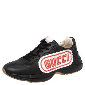 Gucci Black Leather Logo Print Rhyton Low Top Sneakers Size 46