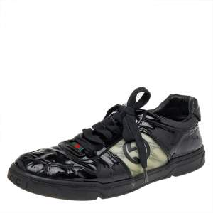 Gucci Black Patent Leather GG Low Top Sneakers Size 43.5