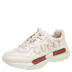 Gucci Cream Leather Rhyton Logo Low Top Sneakers Size 43