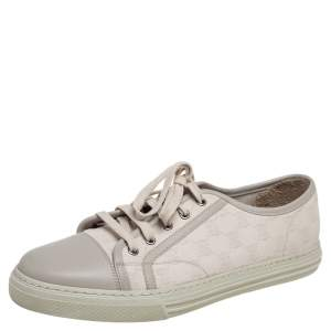 Gucci Cream GG Canvas and Leather Low Top Sneakers Size 43