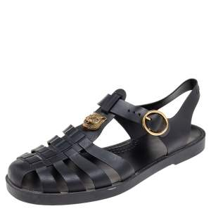 Gucci Black Rubber GG Marmont And Tiger Embellished Buckle Strap Sandals Size 42