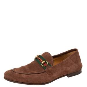 Gucci  Brown Suede Web Horsebit Slip On Loafers Size 42
