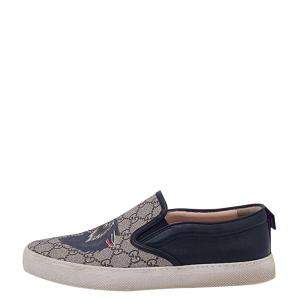 Gucci Black Wolf Printed Canvas Leather Slip On Size EU 31 / 8