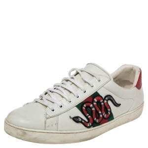 Gucci White Leather Ace Embroidered Snake Low Top Sneakers Size 44