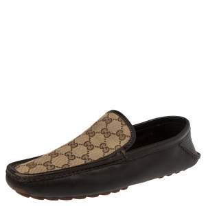Gucci Brown/Beige GG Canvas And Leather Slip On Loafers Size 42.5