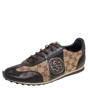 Gucci Brown/Beige GG Canvas and Leather Interlocking G Sneakers Size 43.5