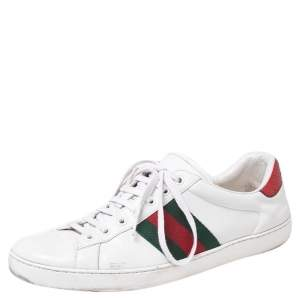 Gucci White Leather Ace Embroidered Tiger Low Top Sneakers Size 44