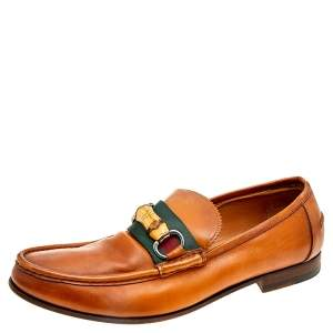 Gucci Brown Leather Bamboo Horsebit Slip On Loafers Size 41
