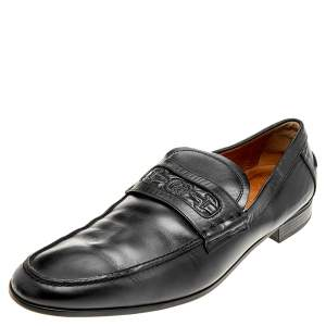Gucci Black Leather Horsebit Embossed Slip On Loafers Size 44.5