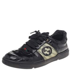 Gucci Black Patent Leather Interlocking G Hologram Logo Low Top Sneakers Size 41