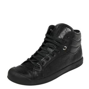 Gucci Black Guccissima Leather Web High Top Sneakers Size 43