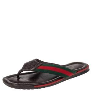 Gucci Brown Micro Guccissima Leather Web Thong Flip Flop Sandals Size 40
