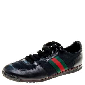 Gucci Black GG Canvas and Leather Web Low Top Sneakers Size 45