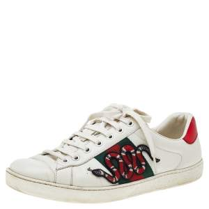Gucci White Leather And Python Embossed Leather Ace Snake Embroidered Low Top Sneakers Size 41.5