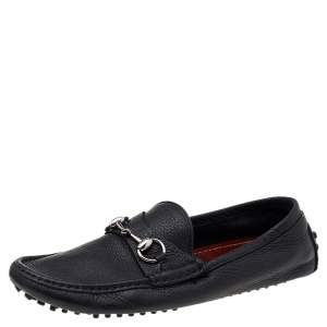 Gucci Black Leather Horsebit Slip On Loafers Size 40