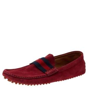 Gucci Red Suede Web Detail Slip On Loafers Size 44