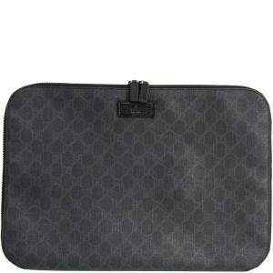 Gucci Dark Gray GG Plus Coated Canvas Document Case
