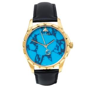 Gucci Turquoise Blue Gold Tone Stainless Steel Leather G-Timeless 126.4 Men's Wristwatch 38 mm