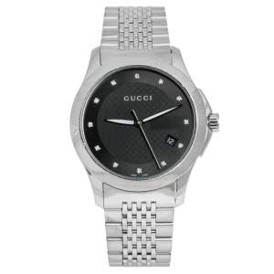 Gucci Black Stainless Steel Diamond G-Timeless 126.4 Men's Wristwatch 38 mm