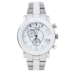 Gucci White Ceramic & Stainless Steel G Chrono 101M Men's Wristwatch 42 mm