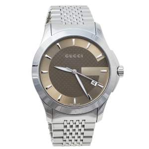 Gucci Brown Stainless Steel G-Timeless YA126406 Men's Wristwatch 38 mm