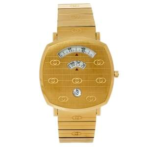Gucci Yellow Gold PVD Stainless Steel Grip 157.3 Men's Wristwatch 38 mm