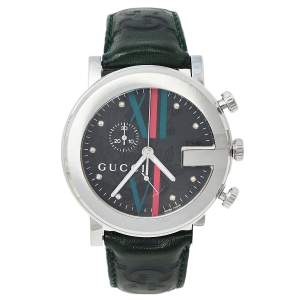Gucci Grey Stainless Steel & Leather 101M G-Chrono Men's Wristwatch 44 mm