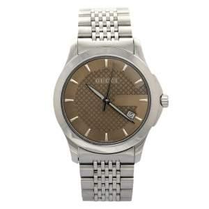 ساعة يد رجالية غوتشي جي- تيمليس YA126406 ستانلس ستيل بنية 38 مم