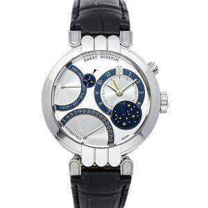 Harry Winston Silbver 18K White Gold Premier Excenter Bi-Retro Perpetual Calendar 200-MAPC 41W Men's Wristwatch 41 MM