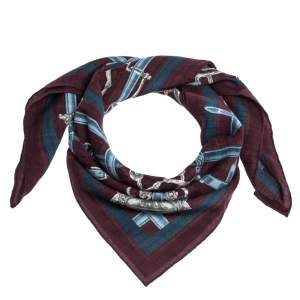 Hermes Burgundy Flamboyant Web Cashmere Blend Square Scarf