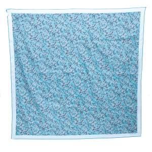 Hermès Ocean Blue 3D Optic Cotton and Silk Scarf
