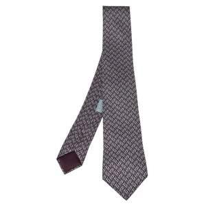 ربطة عنق هيرمس رفيعة حرير برون أتش ألومتس