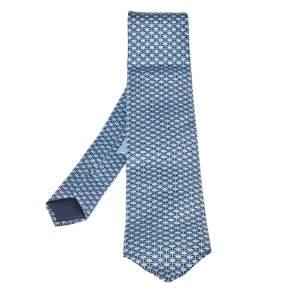Hermes Azure Blue Marine Fonce Silk Tie