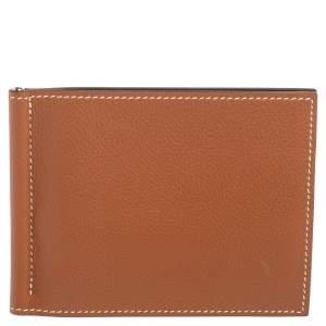Hermes Gold/Vert Vertigo Evercolor Leather Poker Compact Wallet