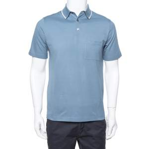 Hermes Blue Gray Cotton Pique Short Sleeve Polo T-Shirt S