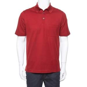 Hermes Maroon Cotton Pique Short Sleeve Polo T-Shirt M
