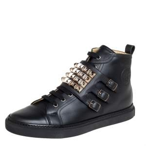 Hermés Black Leather Studded Lennox Sneakers Size 43.5