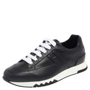 Hermes Black Leather Addict Low Top Sneakers Size 41.5