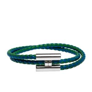 Hermès Tournis Tressé Bicolor Leather Palladium Plated Bracelet