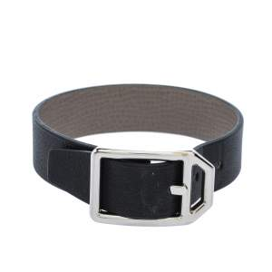 Hermes Black & Grey Leather Paddock Simple Tour Reversible Bracelet T3