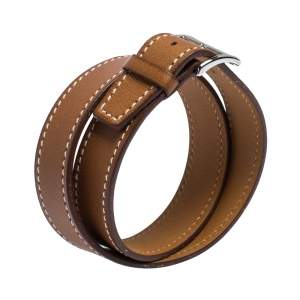 Hermes Tan Brown Leather Double Tour Orlando Bracelet T4